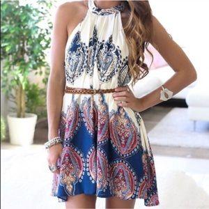 Paisley boho tunic dress